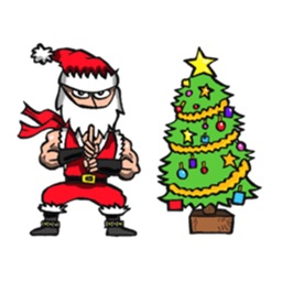 Stickers Of Funny Ninja Santa Claus