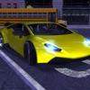 汽车驾驶模拟器的运动车停车夜晚的城市