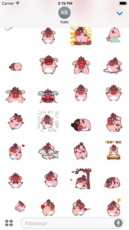 Lovely Fat Boar Animated Stickers For iMessage screenshot-4