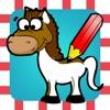 123 塗り絵の本 ポニー、馬、乗馬、種馬などのような多くの写真とゲーム:子供のための馬