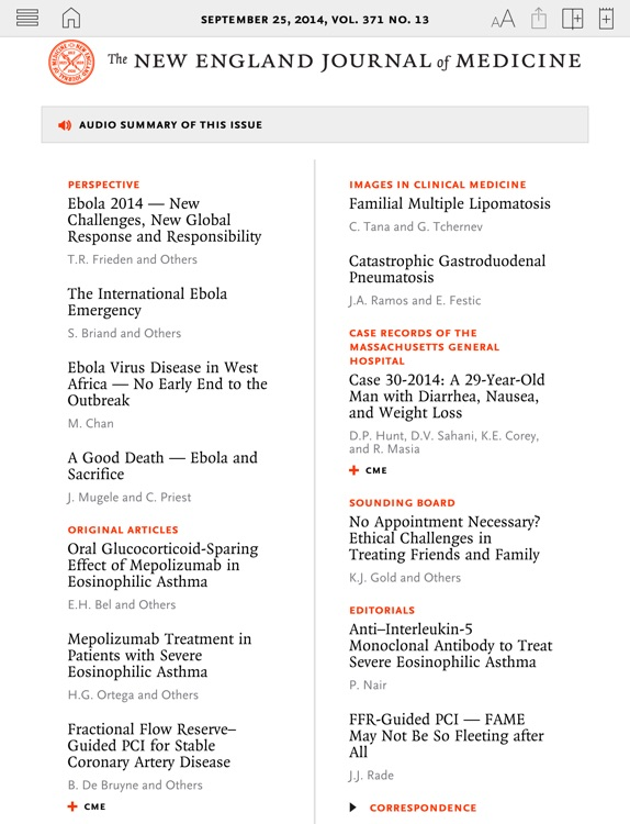 NEJM iPad Edition screenshot-0