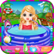 孩子们 游泳池 公园 - -  女孩游戏