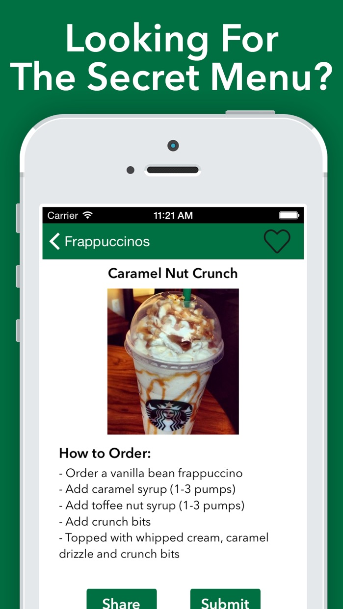 Secret Menu for Starbucks! Screenshot