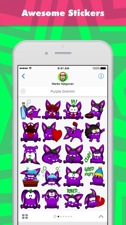 Purple Gremlin stickers by CandyASS