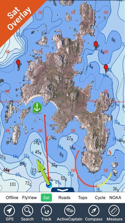 North Spain Portugal GPS nautical fishing chart
