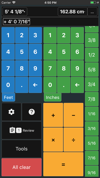 Feet and Inches Calculator screenshot one