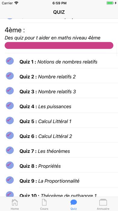 COURS QUIZ 4ème screenshot 7