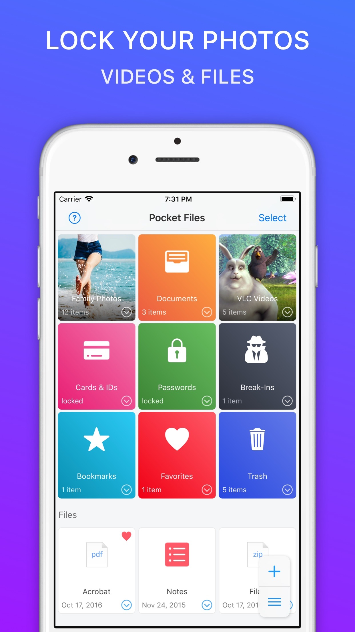 Photo Video Vault: PocketFiles Screenshot