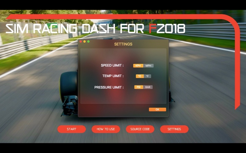 Sim Racing Dash for F2018 for Mac