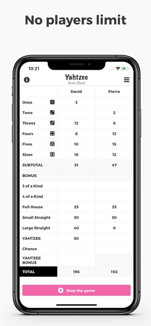 Yahtzee Score Sheet on the App Store