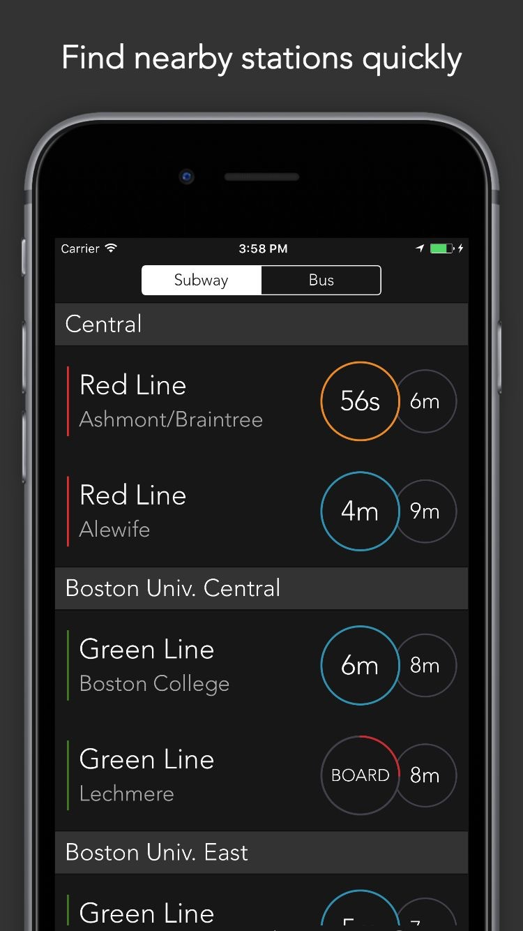 ProximiT: MBTA Bus and Subway Screenshot