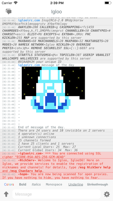 Igloo IRC Screenshots