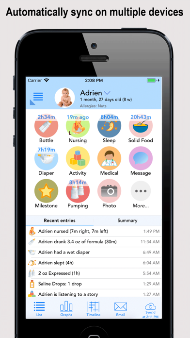 Screenshot for Baby Connect (Activity Log) in Denmark App Store