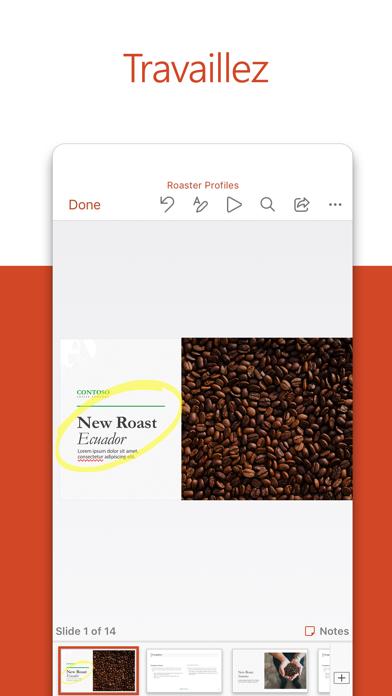 Microsoft PowerPoint iphone captures décran