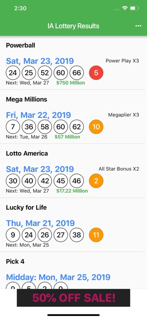 IA Lottery Results on the App Store