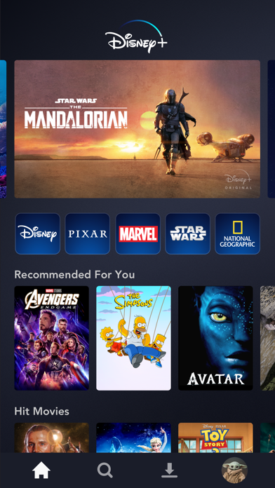 Screenshot of Disney+ App