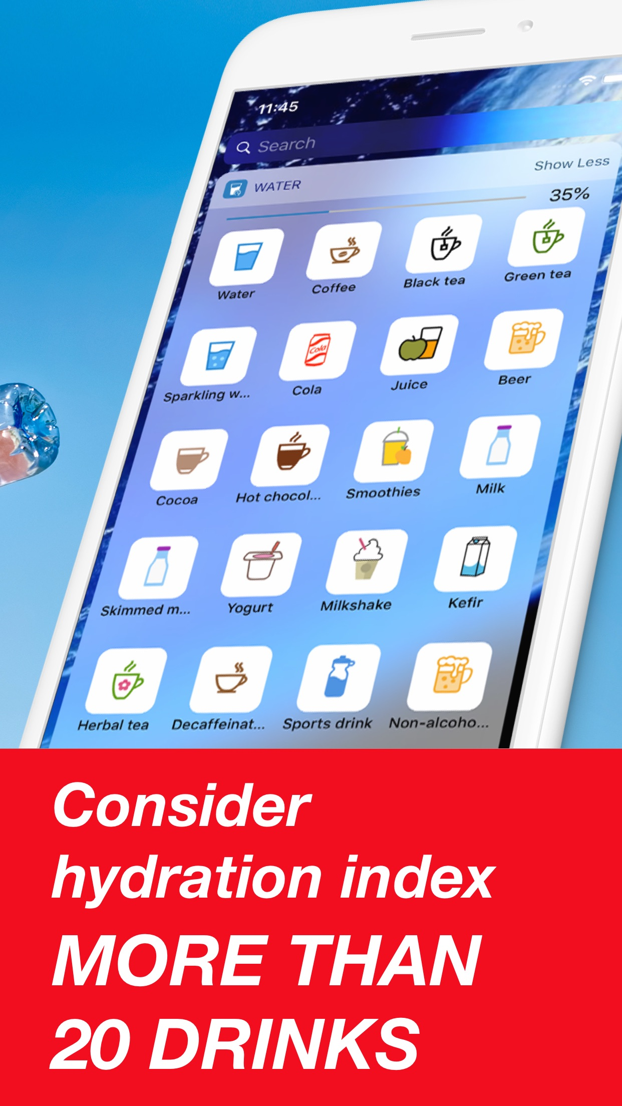 Screenshot do app Drink Water Reminder & Counter