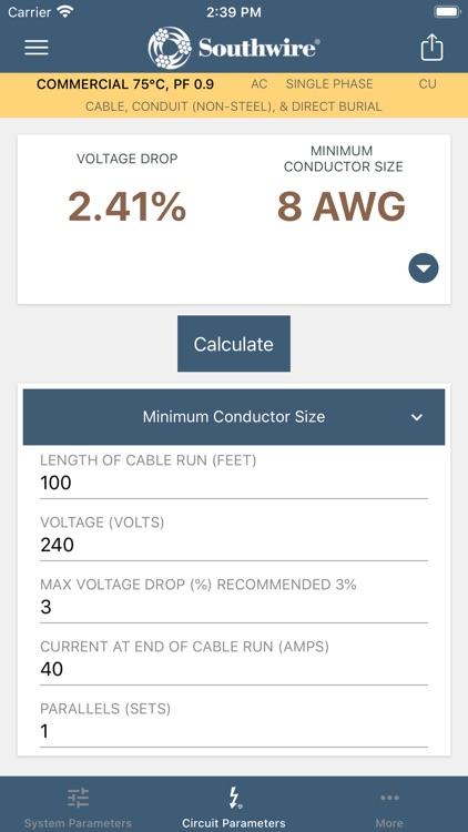 Southwire® Voltage Drop Calc screenshot-3
