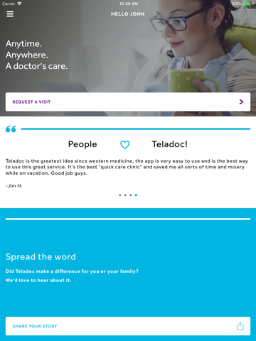 Screenshot of Teladoc
