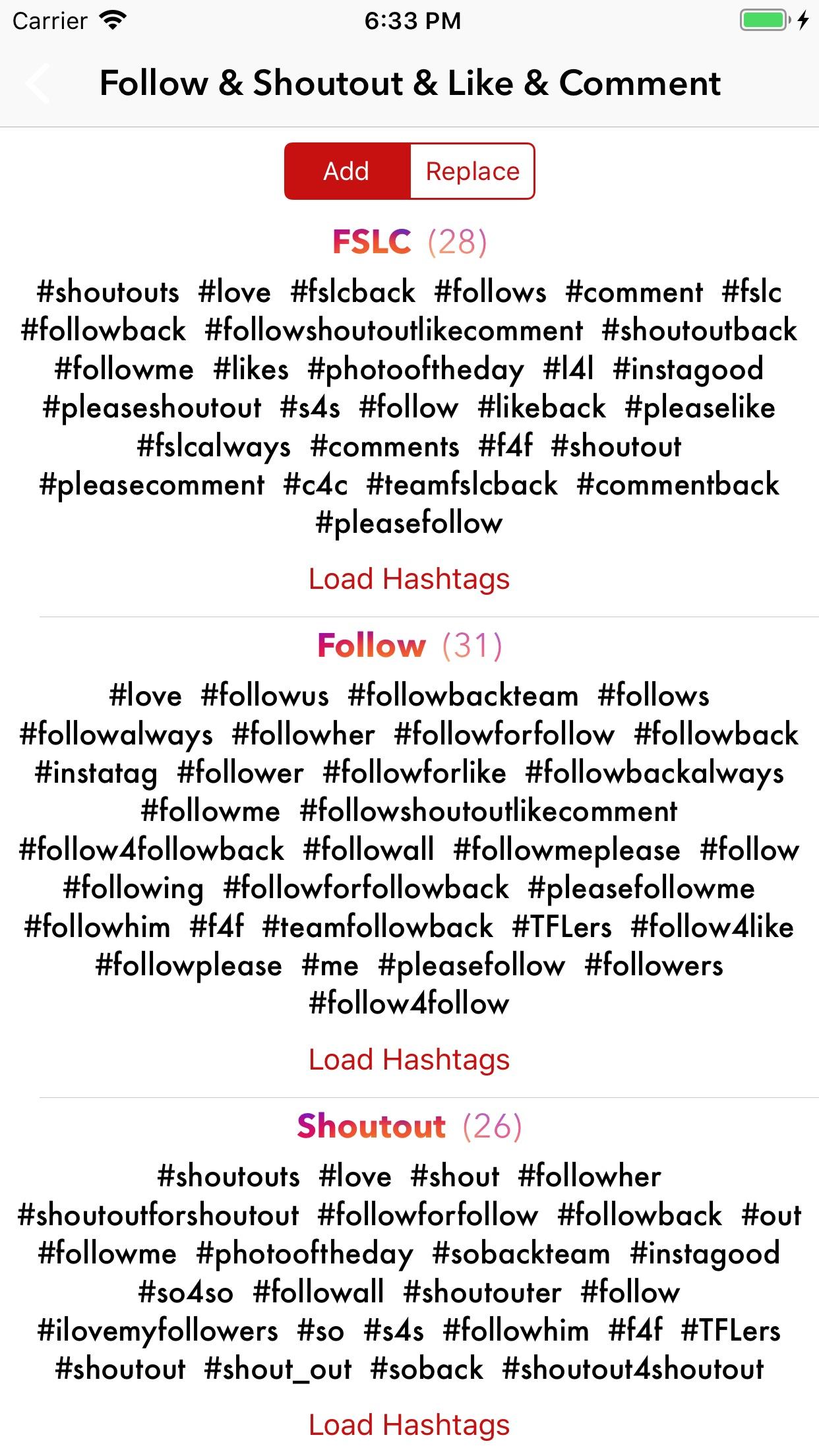 Hashtag Manager for Instagram Screenshot