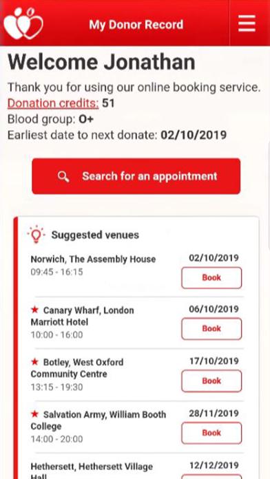 NHS Give Blood screenshot one