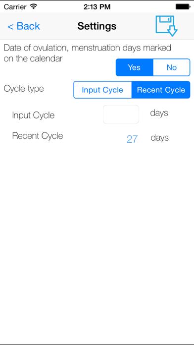 يوميات التقويم الحيضلقطة شاشة2