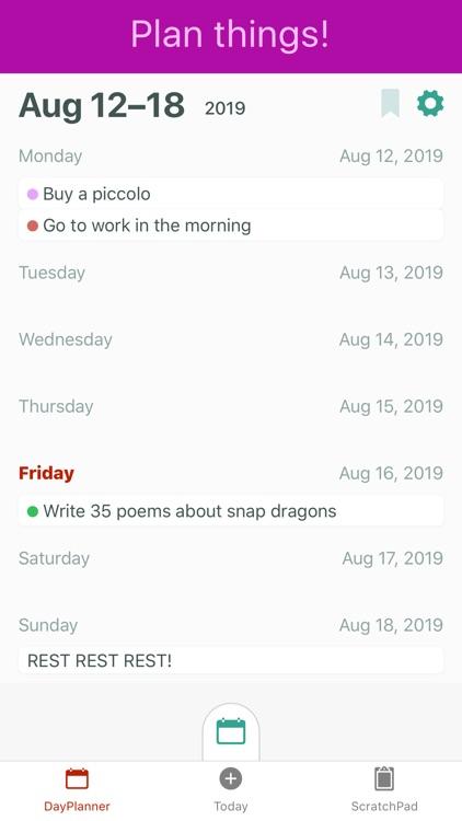 WeekNotes, Day planner & memos