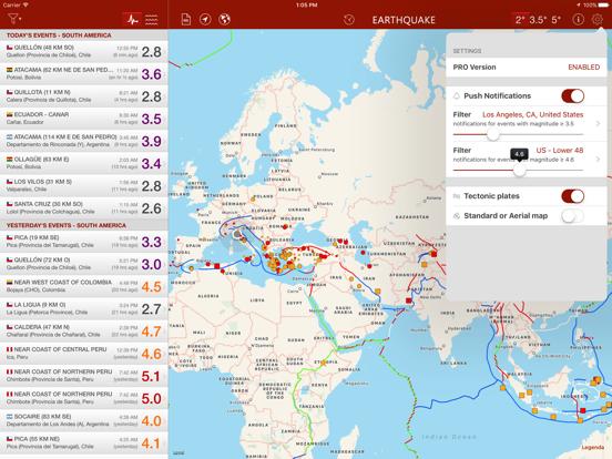Earthquake - alerts and map screenshot