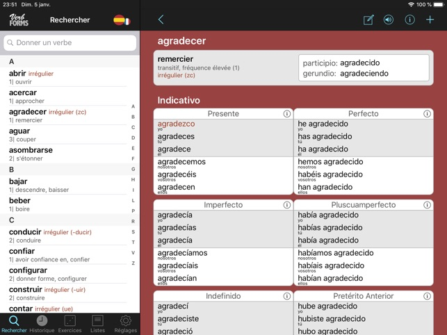 Espagnol Verbes Conjugaison Dans L App Store