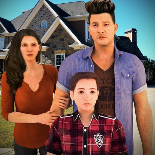 Счастливый виртуальный семья и