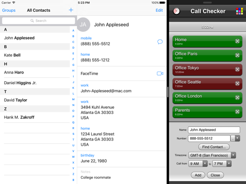 Screenshot of Call Checker