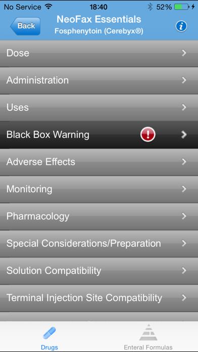 IBM Micromedex NeoFax Screenshot
