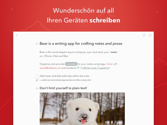 Bear Notizen Screenshot