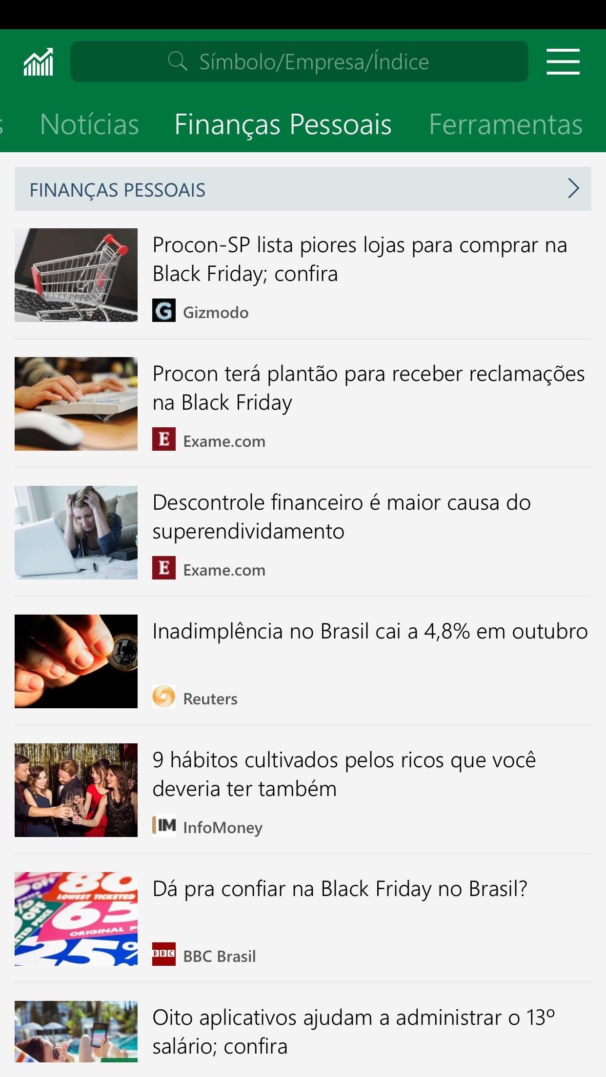 Screenshot do app MSN Dinheiro