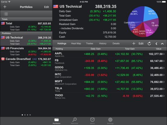Free Stock Tracker & Trading Portfolio Manager - Portfolio Trader Lite for iPhone & iPad screenshot