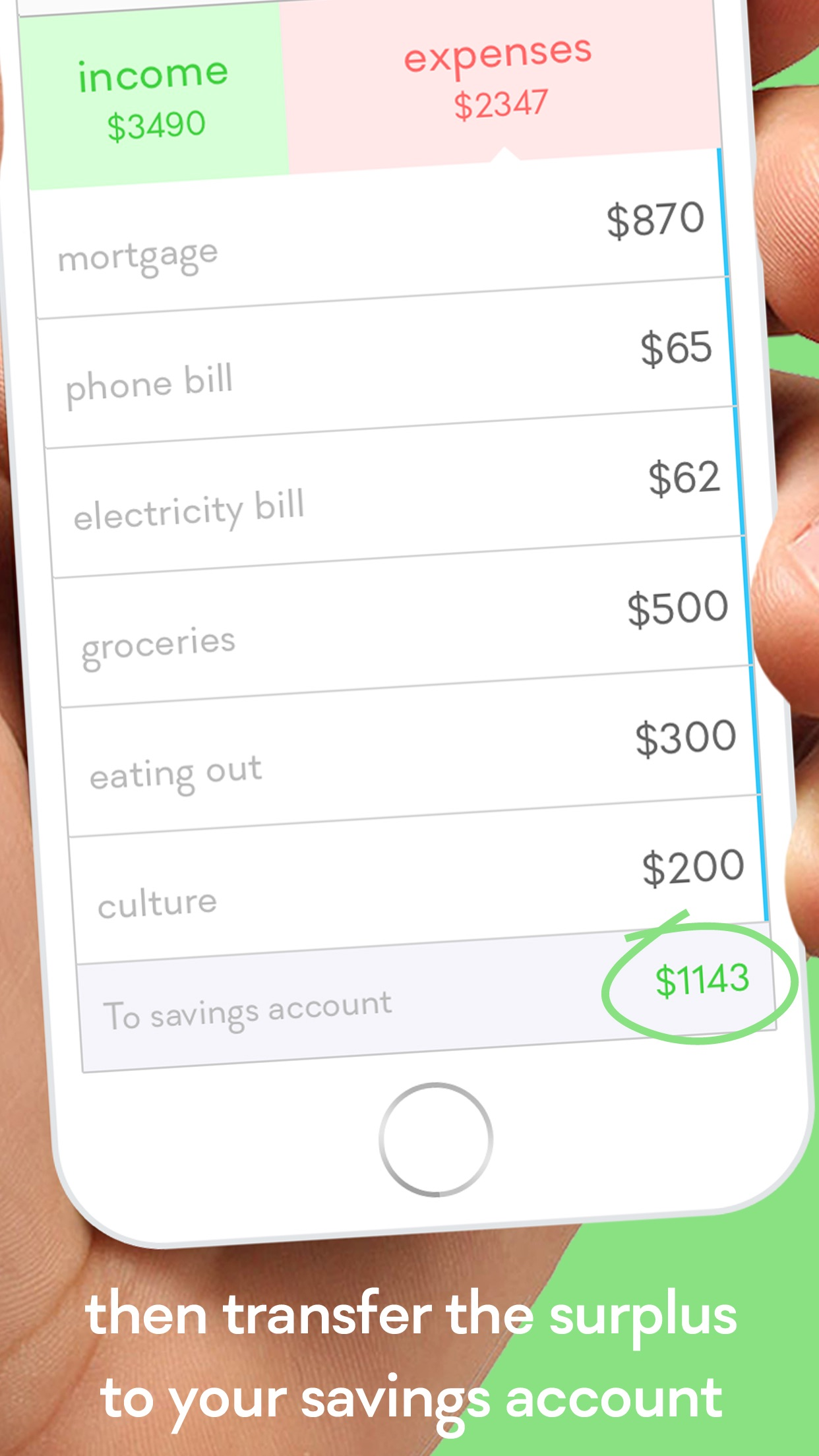 Screenshot do app monthly - easy personal budget