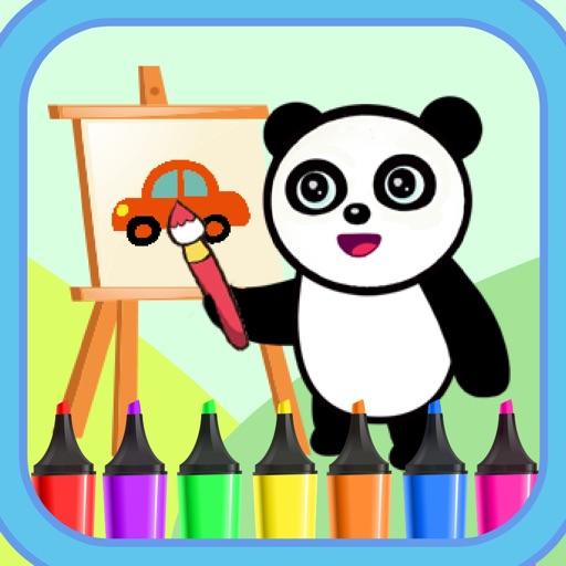 奇妙的熊猫画画游戏-绘制汽车出行的动画