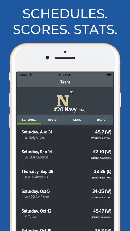 Navy Football Schedules