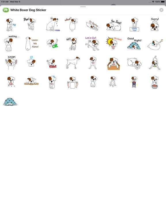 Cute White Boxer Dog Sticker screenshot 3