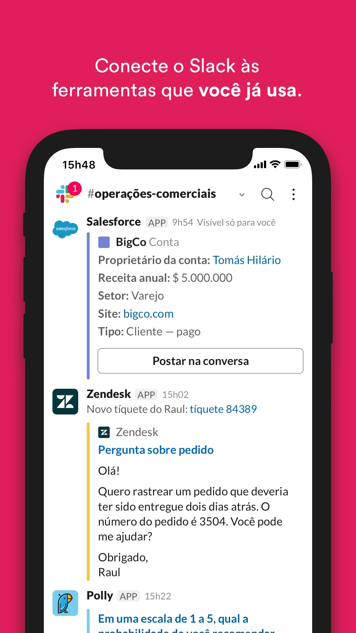 Screenshot do app Slack