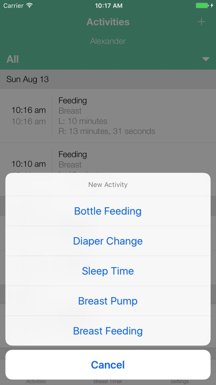 BoobieTime Breast Feeding App