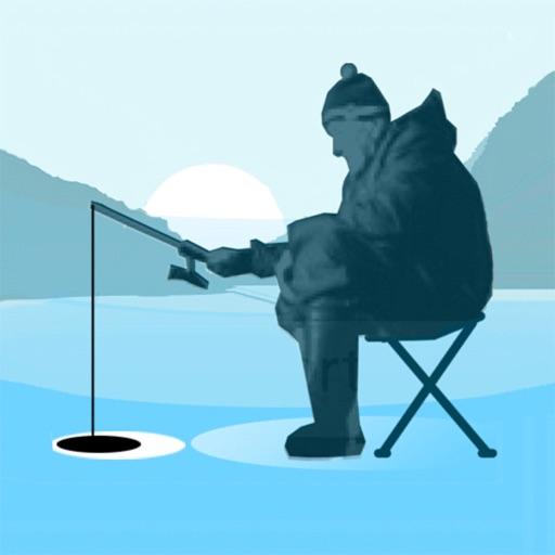 Ice fishing game.Catching carp