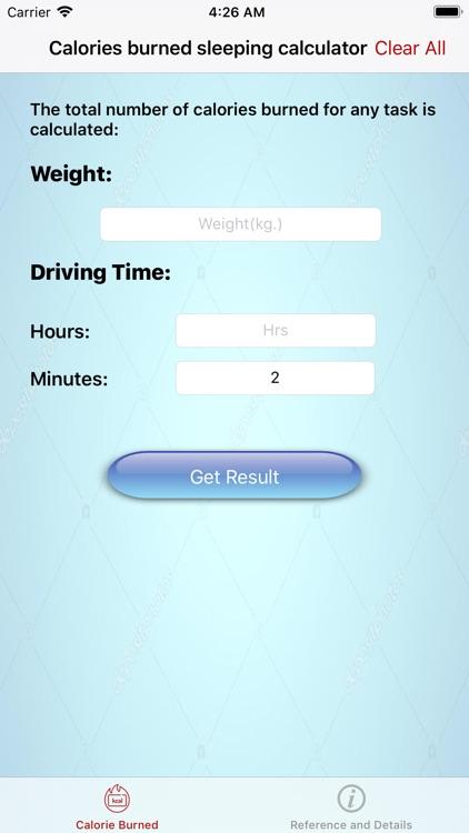 calories burned in driving car screenshot-6