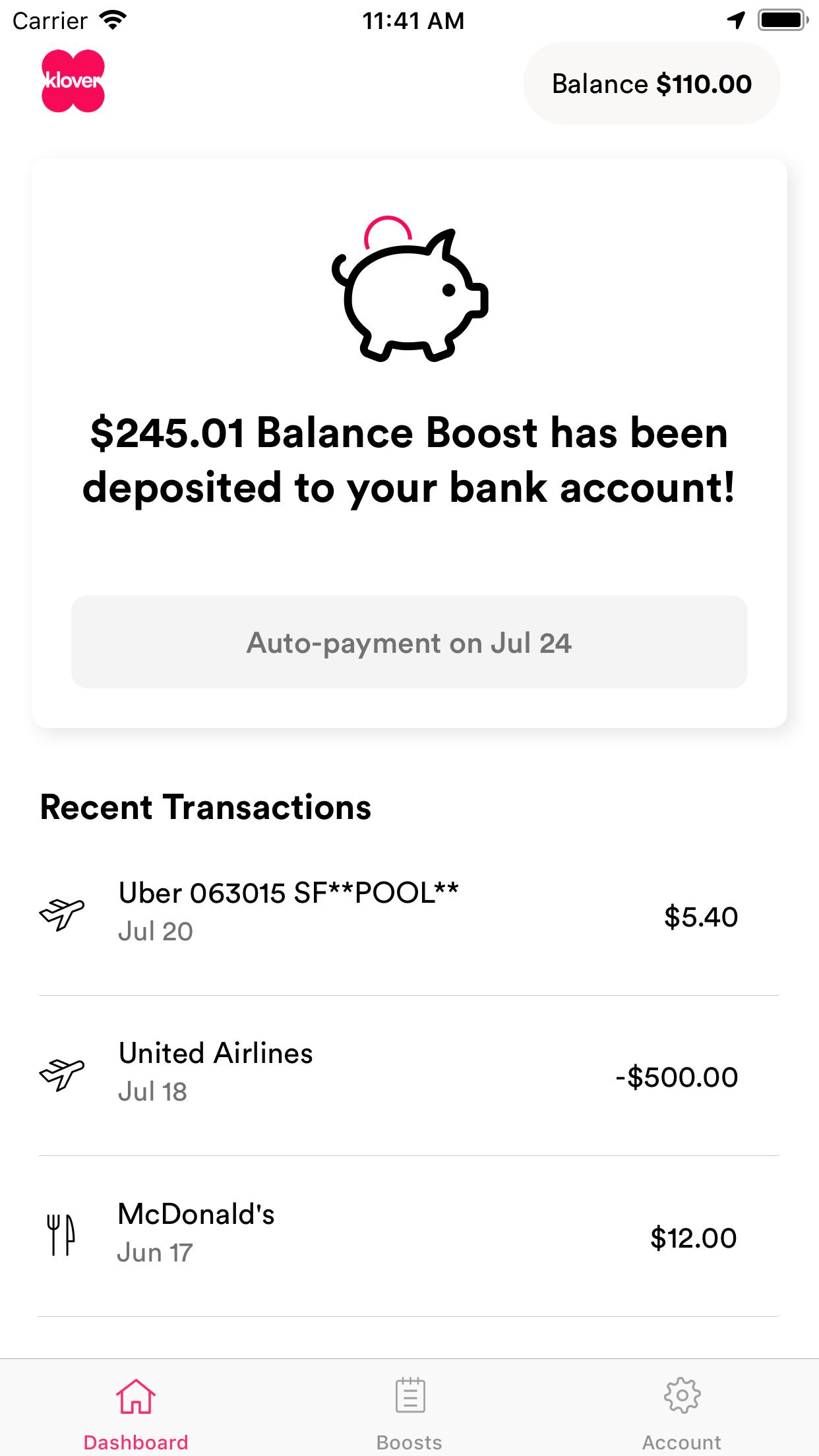 Klover  $250 between paychecks screenshot 3