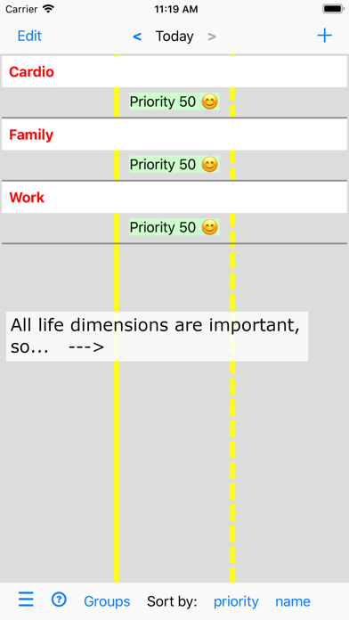 Activities and Priorities screenshot one