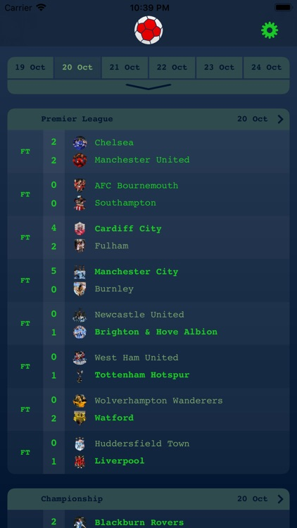 Live Results - English League