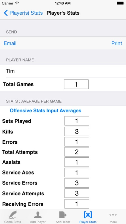 Volleyball Player Game Stats