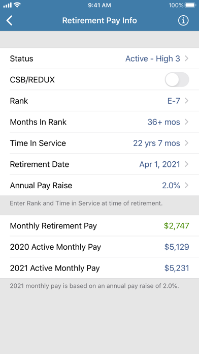Military Retirement Screenshot