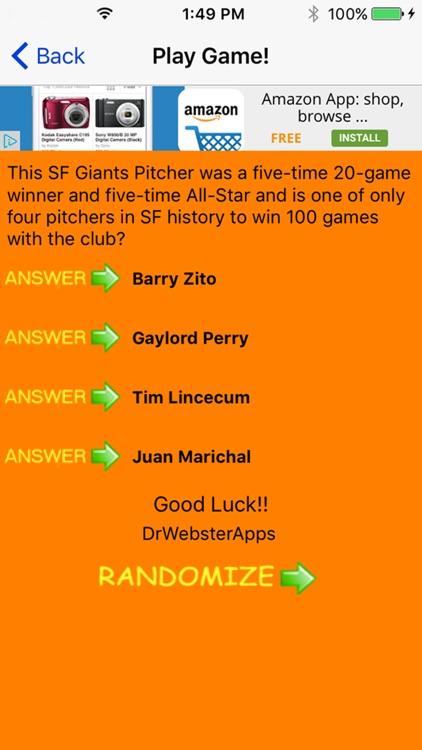Trivia Game for SF Giants fans screenshot-7