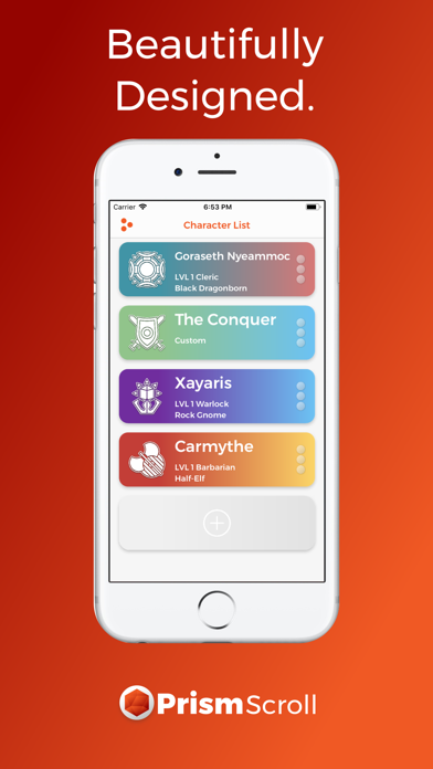 PrismScroll - Character Sheet Screenshots